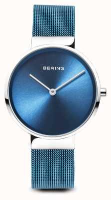 Bering Womens   Classic   Blue PVD Plated Steel Mesh Bracelet 14531-308