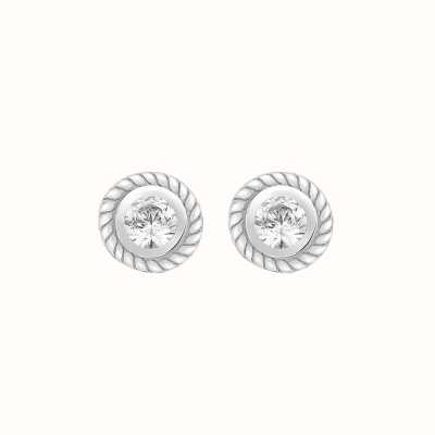 Perfection Swarovski Single Stone Rubover Ornate Stud Earrings (0.05ct) E2144-SK