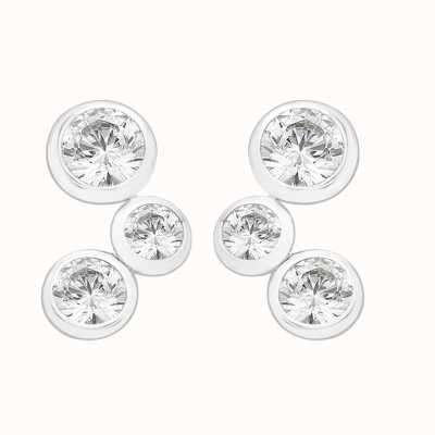 Perfection Swarovski Rubover Set Trilogy Stud Earrings (0.50ct) E2542-SK