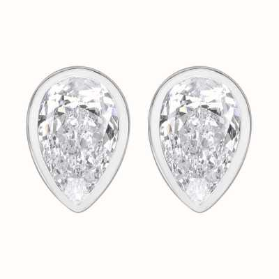 Perfection Swarovski Single Stone Rubover Pear Stud Earrings (1.50ct) E3933-SK