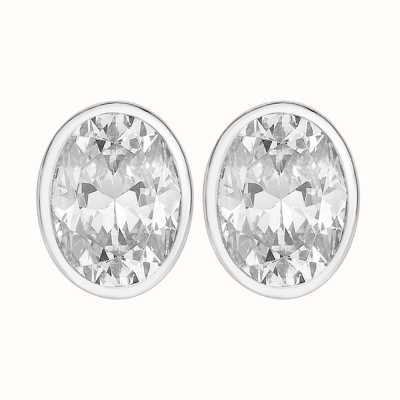 Perfection Swarovski Single Stone Rubover Oval Stud Earrings (0.50ct) E3938-SK
