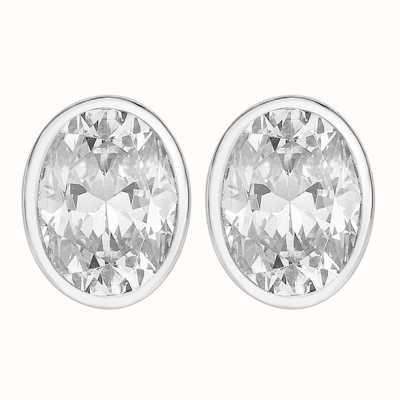 Perfection Swarovski Single Stone Rubover Oval Stud Earrings (1.00ct) E3939-SK