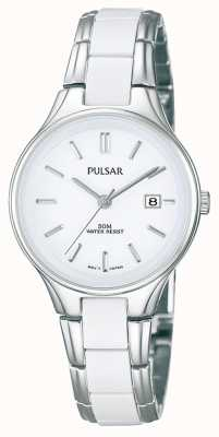 Pulsar Womens' White Ceramic & Stainless Steel White Dial Watch PH7267X1
