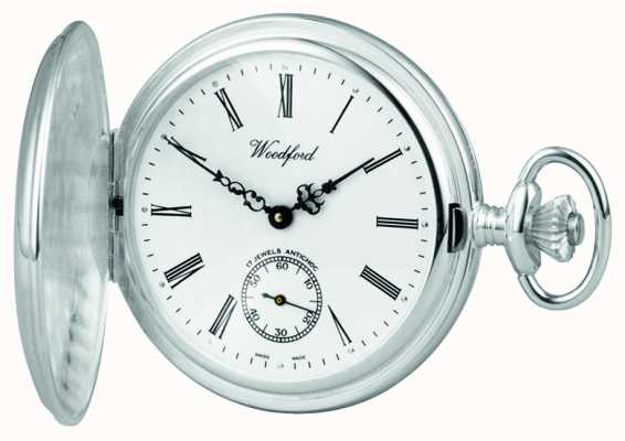 Woodford Stainless Steel White Dial Full Hunter Case Pocket Watch 1001