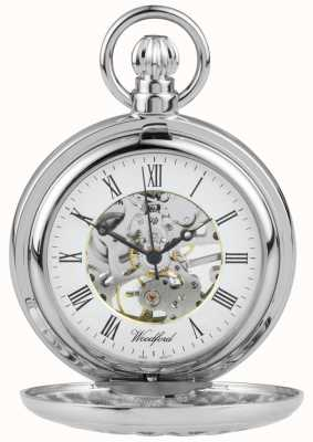 Woodford Stainless Steel Half hunter Flower-Design Pocket Watch 1052