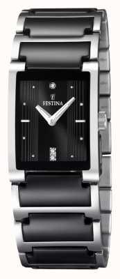 Festina Womens' Black Ceramic Stainless Steel Rectangular Dial Watch F16536/2