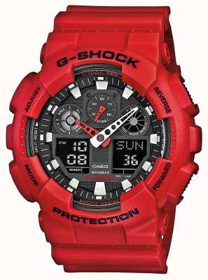 Casio Mens Red Resin Multi Function Watch GA-100B-4AER