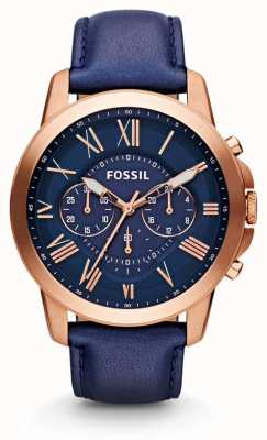 Fossil Mens Grant Chronograph Navy Watch FS4835