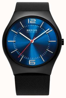 Bering Time Mens Ceramic Mesh Band Watch 32039-447