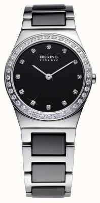 Bering Womens Black Ceramic, Steel, Crystal Watch 32430-742