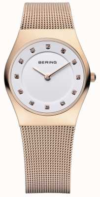Bering Womens Classic, Rose Gold, Crystal Set Watch 11927-366