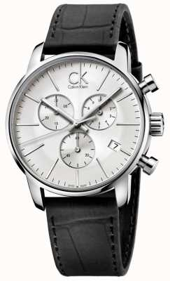 Calvin Klein Mens Stainless Steel & Black Silver Dial City Chronograph K2G271C6