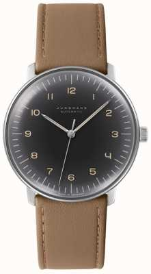 Junghans Mens Max Bill Automatic Black Dial Brown Leather Watch 027/3401.00