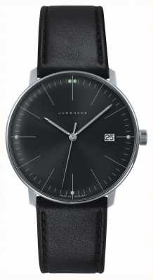 Junghans Mens max bill Quartz Plain Black Dial Black Leather Watch 041/4465.00