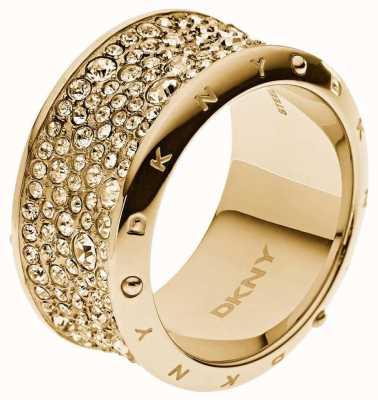 DKNY Gold Tone PVD Plated Stone Set Ring M.5 NJ2019040