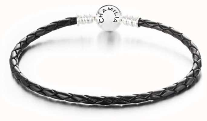 Chamilia Medium Braided Black Leather Bracelet with Round Snap Closure 1030-0124