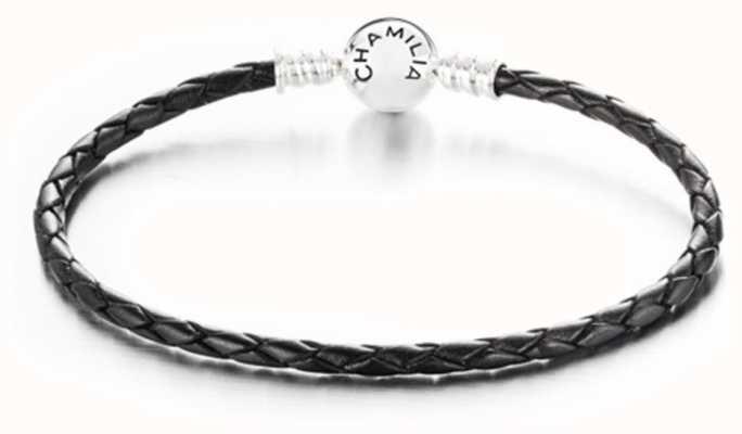 Chamilia Large Braided Black Leather Bracelet with Round Snap Closure 1030-0126