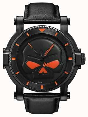 Harley Davidson Mens Black Willie G Skull Watch 78A114