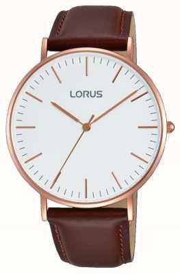 Lorus Mens Brown Leather Strap White Dial RH880BX9