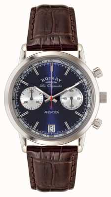 Rotary Mens Avenger, Brown Leather Strap, Blue Dial GS90130/05