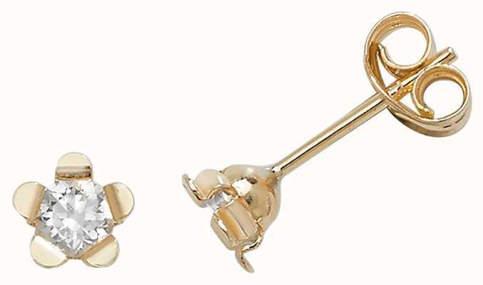 Treasure House 9k Yellow Gold Flower Cubic Zirconia Stud Earrings ES400