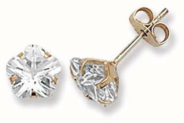 Treasure House 9k Yellow Gold Cubic Zirconia Claw Set Stud Earrings ES301