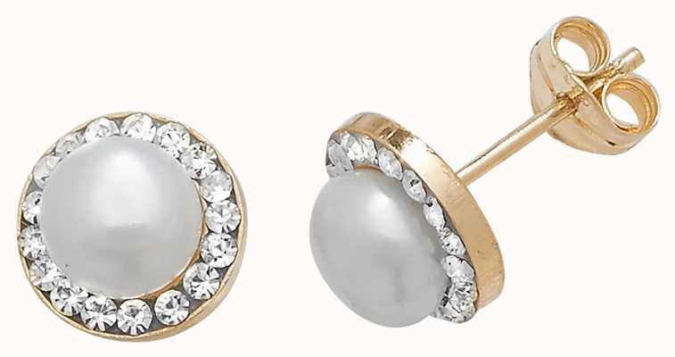 Treasure House 9k Yellow Gold Pearl Cubic Zirconia Stud Earrings ES398