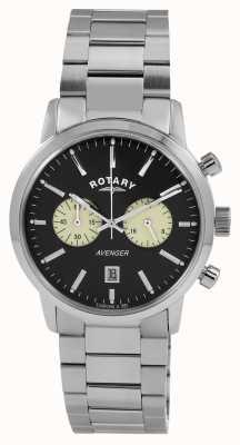 Rotary Mens Avenger Stainless Steel Black Dial GB02730/04