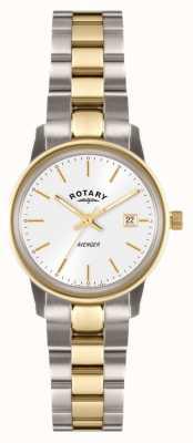 Rotary Womens Avenger Two Tone Bracelet White Dial LB02736/02