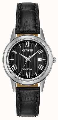 Citizen Womens Eco-Drive Leather Strap Black Dial FE1081-08E