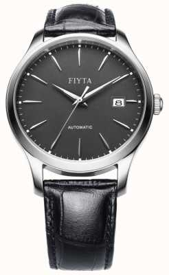 FIYTA Mens Black Leather Strap Grey Dial WGA1010.WHB