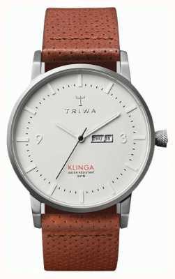 Triwa Unisex Klinga Brown Leather Strap White Dial KLST101-CD010212