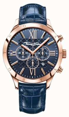 Thomas Sabo Mens Blue Leather Strap Blue Dial WA0211-270-209-43