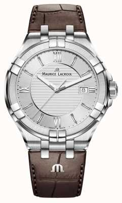 Maurice Lacroix Mens Aikon Brown Leather Strap Silver Dial AI1008-SS001-130-1