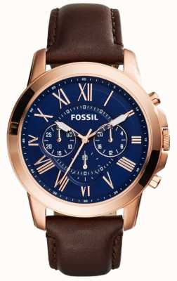Fossil Mens Navy Chronograph Dial Brown Leather Strap FS5068