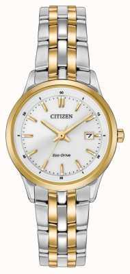 Citizen Womens Two Tone Stainless Steel Bracelet White Dial EW2404-57A