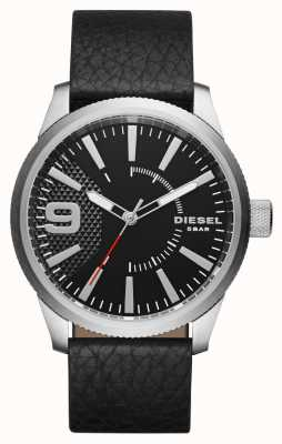 Diesel Mens Black Leather Strap Black Dial Silver Case DZ1766