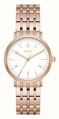 DKNY Womans Rose Gold Stainless Steel Mesh Strap Round White Dial NY2504