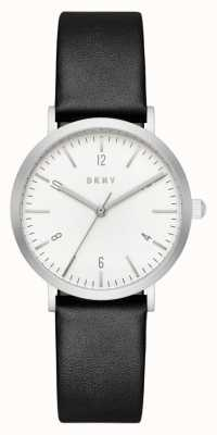 DKNY Womans Black Leather Strap Round White Dial NY2506