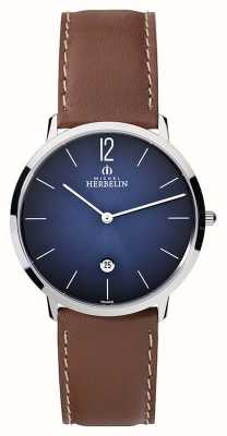 Michel Herbelin Mens Ikone Grande Brown Leather Strap Blue Dial 19515/15