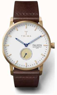 Triwa Mens Snow Falken Brown Leather Strap White Dial FAST110-CL010413