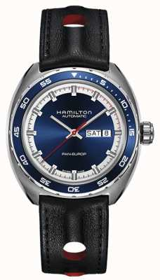 Hamilton Mens Pan Europ Black Leather Strap Blue Dial H35405741