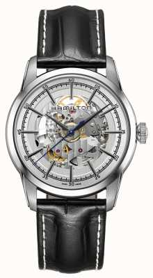 Hamilton Mens Railroad Skeleton Silver Stainless Steel Black Strap H40655751