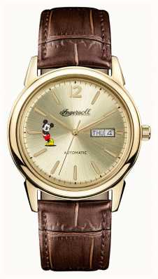 Disney By Ingersoll Mens Union The New Haven Disney Brown Leather Strap ID00202