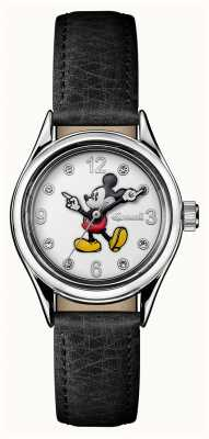 Disney By Ingersoll Womens Union The Disney Black Leather White Dial ID00902