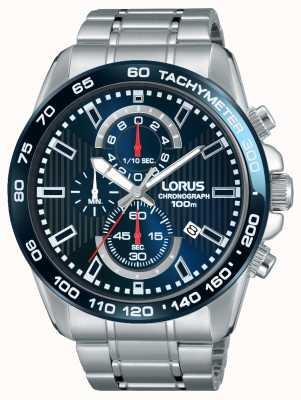 Lorus Mens Chronogaph Stainless Steel Blue Dial RM375CX9