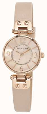 Anne Klein Womens Cream Leather Strap Rose Gold Tone Case 10/N9442RGLP
