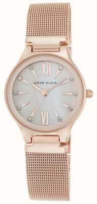 Anne Klein Womens Rose Gold Tone Mesh Mother Of Pearl Dial AK/N2418BMRG
