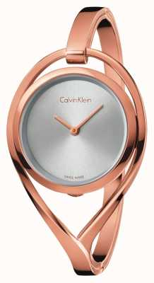 Calvin Klein Womens Light Medium Rose Gold Tone Bangle Silver Dial K6L2M616