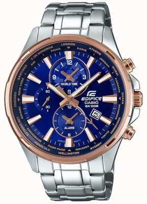 Casio Mens Edifice Stainless Steel Bracelet Blue Dial EFR-304PG-2AVUEF